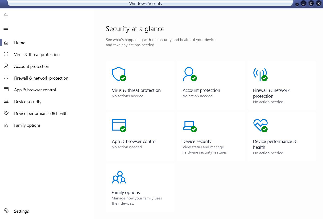 A screen capture of Windows 10 security settings.