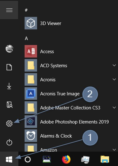 First click on the Windows 10 Start menu, then select the Settings gear icon.